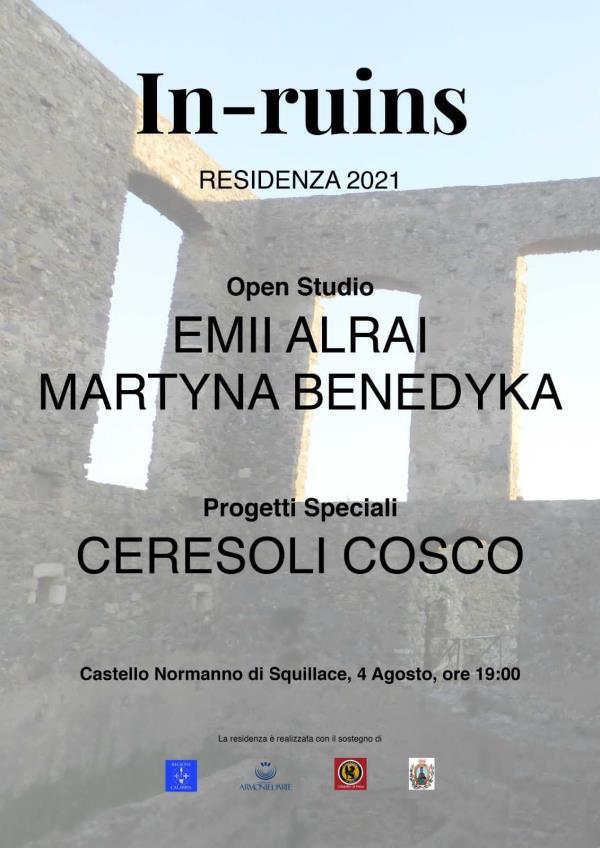 Patrimonio archeologico del Mediterraneo. In-ruins  presenta l'open studio delle artiste Alrai,  Benedyka e del duo italiano Ceresoli Cosco
