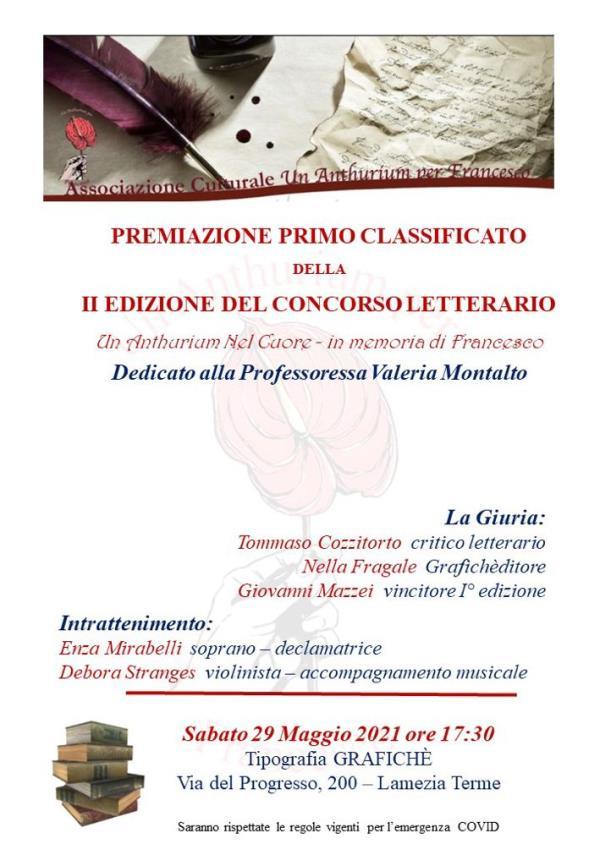 """Lamezia Terme. """"Un Anthurium nel cuore- in memoria di Francesco"""", sabato la premiazione del vincitore del concorso letterario"""