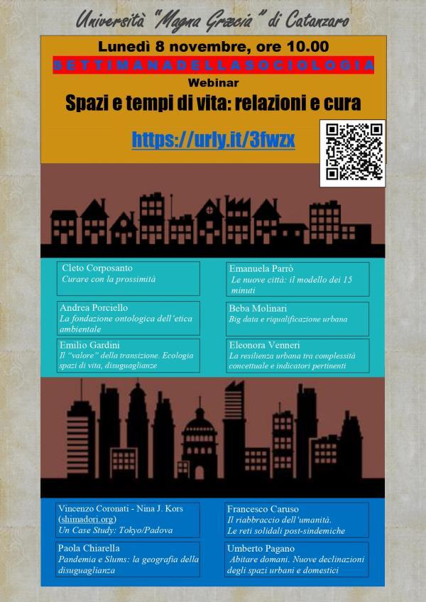 Settimana della Sociologia, dall'8 al 13 Novembre: all'Umg di Catanzaro webinar su aspetti legati alla ridefinizione delle città