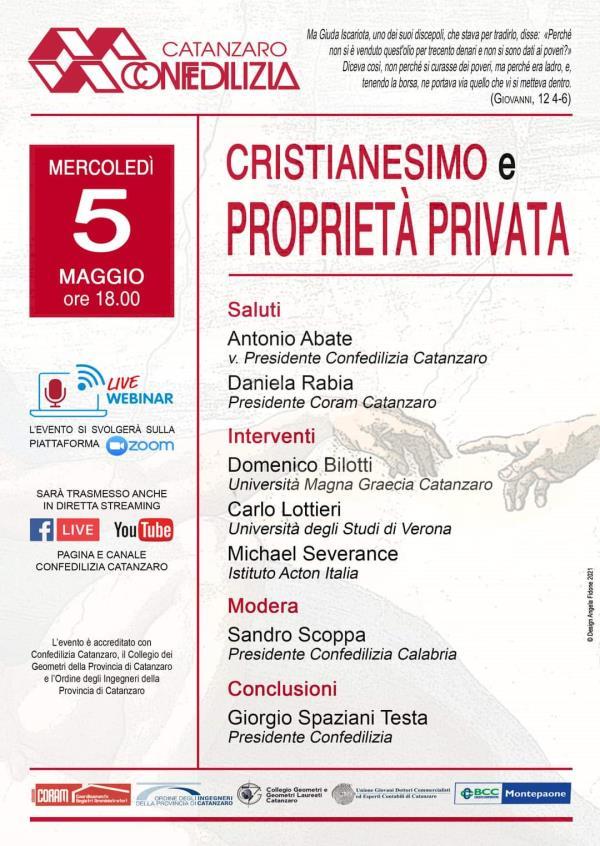 """""""Cristianesimo e proprietà privata"""": Confedilizia Catanzaro ne discuterà online"""