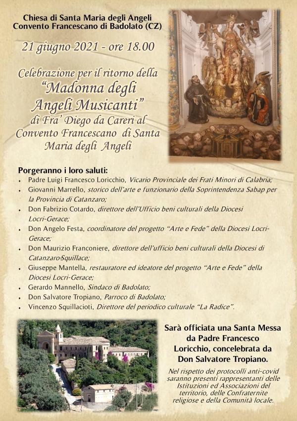 """Badolato. Sarà celebrato lunedì il ritorno della """"Madonna degli angeli musicanti"""" di Frà Diego Careri"""