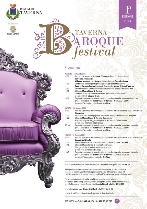 """Ai nastri di partenza il Taverna """"Baroque festival"""": tre giorni tra natura e arte 13, 14 e 16 agosto"""