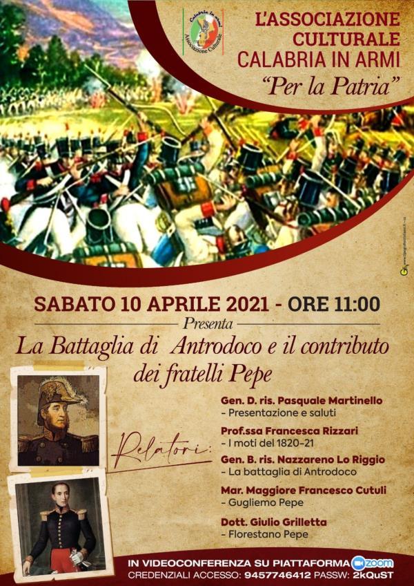 Sabato l'Associazione Culturale Calabria In Armi di Catanzaro celebra il bicentenario dei Moti del 1820-21 con un seminario in webinar