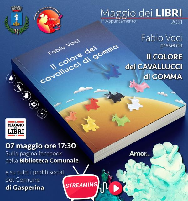 """Maggio dei libri 2021. Domani a Gasperina il primo appuntamento con il libro """"Il colore dei cavallucci di gomma"""" di Fabio Voci"""